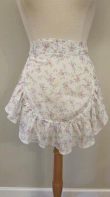 Vintage Aprons, Retro Aprons, Old Fashioned Aprons & Patterns Vintage 50's Sheer Cotton Floral Hostess Half Apron Handmade $6.99 AT vintagedancer.com