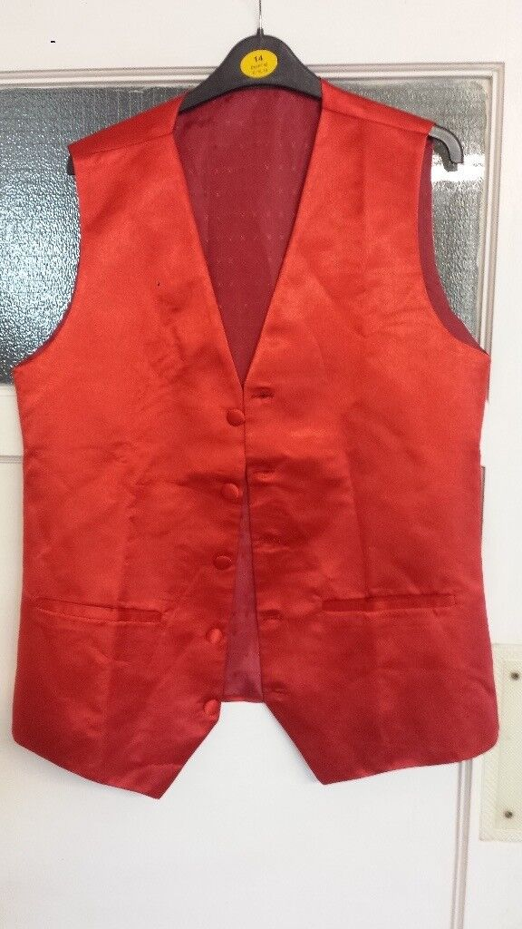 Mens designer Red waistcoat - NEW - Can post or deliver local
