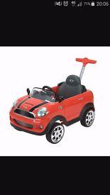 Red push along mini cooper car