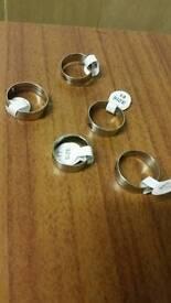 five stainless steel unisex rings