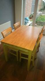 Solid wood/pine table and 4 chairs