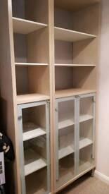 2x Ikea units with glass doors