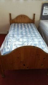 Pine Single Bed with NEW Myer Adams Chester Mattress