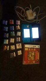 Nintendo 3ds console and 18 games