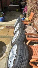 Audi alloy wheels have been refurbished and 4 good tyres 245/45R /18