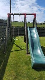 Wooden slide and swing set