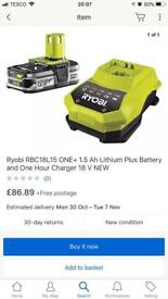 Ryobi one+ battery and fast charger