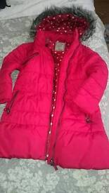 Girls red coat. Aged 3-4