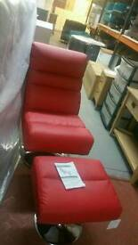 A brand new stylish red swivel chair x stool.