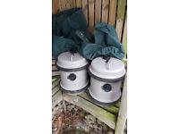 Two Aquaroll 40 litre water barrels with covers - caravan camping
