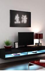 Black gloss floating tv unit