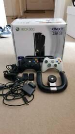 XBox 360 (S) 250GB w/ Kinect, 3 controllers plus steering wheel