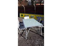 Big patio smoked glass heavy table (new) 5 retro metal chirs