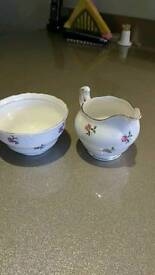 Vintage Colclough sugar bowl and jug
