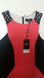 Next Black and Coral Dress - Size 10 (NWT)