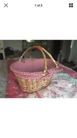 wicker gingham picnic basket