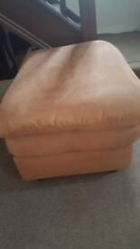 Tan microfibre 3 piece suite plus footstool