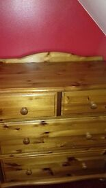 Tall 4 Drawer Chest Of Drawers Solid Stained Pine