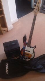 Peavey Milestone III Bass Guitar in Sunburst inc strap, lead, bag, stand, amp. USED, excellent cond.