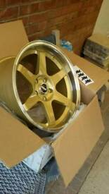 "Brand new 18"" alloy wheels fit nissan toyota maybe others."