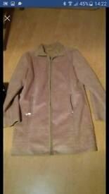 """Ladies jacket ladies Coat Next size 12 faux seude beige coat/jacket 36"""" length excellent condition"""