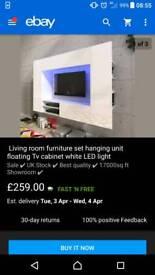 Gloss black floating TV unit