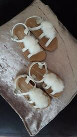 White pom pom sandals infant size 5 and 6 brand new