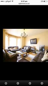 Brown leather reclining sofa x2 2 seater x2 3seater