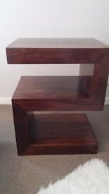 Solid dark wood side table