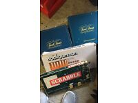 Board games trivial persuit scrabble and backgammon
