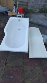 Bath with mixing tab