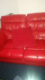 Red leather. 2+3seater sofas
