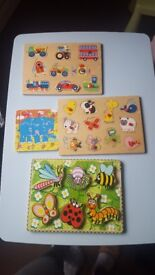 4 wooden puzzles for infant.good conditio.