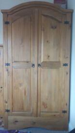 Double door pine wardrobe
