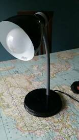 Small metal black desk light