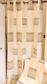 Pair Brown / Beige /Cream Curtains for sale