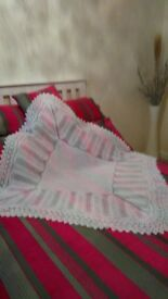 Large hand knitted brand new white baby shawl in the finest 3 ply baby wool