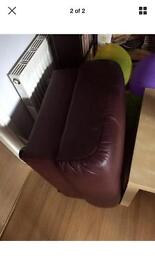 Leather couch and footstool