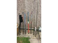 Various Fishing rods and poles