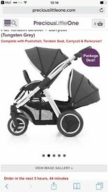 Oyster max double with footmuffs, carrycot rain covers **look**
