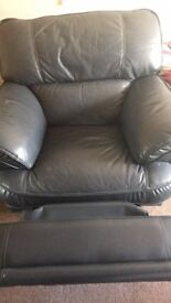 Blue leather recliner,good condition,free