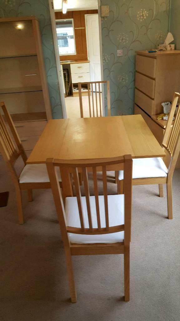 Ikea Bjursta Oak Veneer Extendable Table And 4 Borje