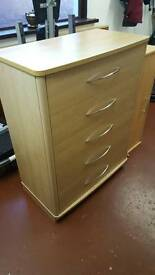 Beech vineer chest of drawers
