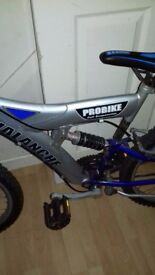 Mans bike , blue and silver, with full suspension.