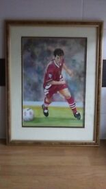 """ROBBIE FOWLER COLOURED WATERCOLOUR PICTURE - HOME PAINTED - 13"""" wide x 17"""" high - LFC LEGEND"""