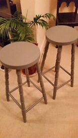 Pair of ercol style stools in midnight grey(not ercol)