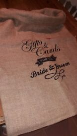 Gift/card hessian sack for wedding