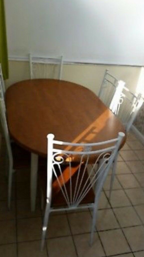 Solid beech table with 6 chairs delivery available