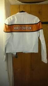 Harley Davidson leather jacket, white leather jacket