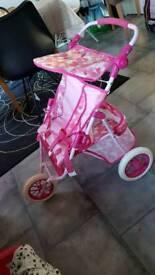 Kids dolls double buggy